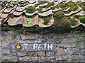 SE8484 : Waymark on old barn with mossy pantiles by Pauline Eccles