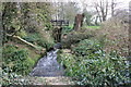 SJ8366 : Midge Brook with sluicegate at The Mill, Mill Lane, Somerford Booths by Peter Turner