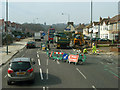 TQ4576 : Road works on Bellegrove Road by Robin Webster