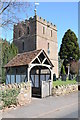 SO6943 : Lych gate and tower, Bosbury by Philip Halling