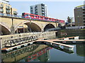 TQ3681 : DLR at Limehouse Basin by Malc McDonald