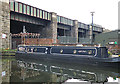 SK3687 : Narrowboat and Railway Bridge by Anne Burgess