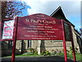 SD8202 : St Paul's Church, Kersal, Sign by Alexander P Kapp