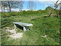 TQ4503 : Stone memorial seat by the path to Beddingham Hill by Dave Spicer