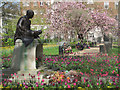 TQ2982 : Gandhi contemplates Spring in Tavistock Square by Chris Reynolds