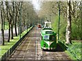 SD8303 : Blackpool tram heading for Heaton Park gates by Christine Johnstone