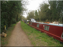 SU6770 : Narrowboats near Burghfield Farm by Scriniary