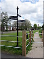 SP0383 : Bourn Brook Walkway Finger Post by Roy Hughes
