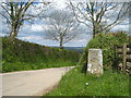 SX3774 : Milestone on a crossroads near Pempwell by Rod Allday