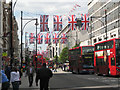 TQ2981 : Union Jacks over Oxford Street by Robin Stott