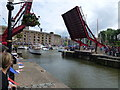 TQ3380 : Road bridge open in St Katherine's Dock by Richard Humphrey
