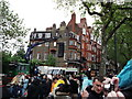 TQ2777 : Crowds, speaker, Chelsea Embankment by David Anstiss