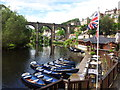 SE3456 : Marigolds cafe and moored rowing boats on the River Nidd by Leslie