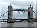 TQ3380 : Tower Bridge with Olympic Rings by Christine Matthews