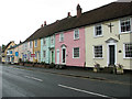 TL8528 : Pastel cottages in Earls Colne by Evelyn Simak