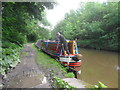 SJ9984 : Working Narrow Boat Hadar moored at New Mills. by Keith Lodge