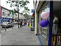 H4572 : Blue and pink balloons, High Street, Omagh by Kenneth  Allen