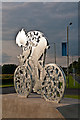 TQ1750 : Pixham End Roundabout cycling statue : Week 30