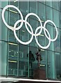 SJ8096 : Matt Busby statue and Olympic Rings by Dave Pickersgill