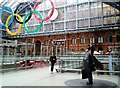 TQ3083 : Sir John and the Olympic Rings, St. Pancras by D. MacNeill