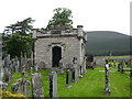 NO1592 : The Farquarson Mausoleum in the old kirkyard at Braemar by jim and liz denham