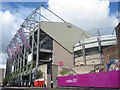 NZ2464 : Olympic branding at St James' Park by Graham Robson
