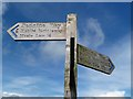 NT8314 : A signpost on the Pennine Way by Walter Baxter