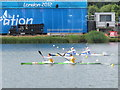 SU9377 : Men's double kayaks, Olympics sprint canoeing at Eton Dorney by David Hawgood