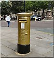 SJ8398 : Gold Postbox, Albert Square, Manchester by Gerald England
