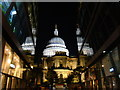 TQ3281 : View of St Paul's Cathedral illuminated and its reflections from the One New Change Shopping Centre : Week 34