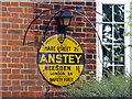 TL4033 : Yellow AA Road Sign, Rose Cottage, Anstey, Hertfordshire by Christine Matthews