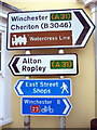 SU5832 : Signposts in the Centre of Alresford, Hampshire by Christine Matthews