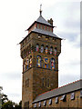 ST1876 : Clock Tower, Cardiff Castle Wall by David Dixon