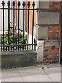 SK8053 : Bench mark, Barnbygate Methodist Church  by Alan Murray-Rust