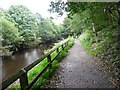 SD9926 : Cycle path alongside the River Calder by Humphrey Bolton