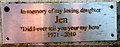 SD3984 : Memorial plaque to 'Jen', summit of Newton Fell by Karl and Ali