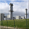 SK7653 : Staythorpe chimneys  by Alan Murray-Rust