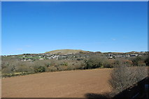 SW9653 : View from a train towards St Stephen approaching Burngullow by Mike May