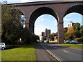 SO8374 : Multi-storey flats viewed through arches of Kidderminster Viaduct by John Grayson