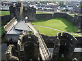 ST1587 : View from one of the towers of Caerphilly Castle : Week 41