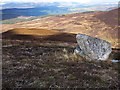 NN7452 : Moorland and boulder above Gleann Mor by wrobison