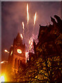 SJ8398 : Manchester Town Hall, Olympic Fireworks by David Dixon