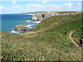 SW6746 : SW Coast Path and cliffs north of the airfield by Richard Law