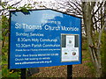 SD9507 : St Thomas' Church, Moorside, Nameboard by Alexander P Kapp