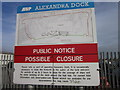 TA1128 : A warming notice at Alexandra Dock by Ian S