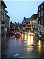 SJ4912 : Shrewsbury: Wyle Cop, on a dark rainy morning by Christopher Hilton