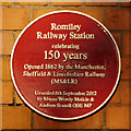 Photo of Romiley railway station red plaque