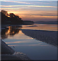 SD4578 : Dusk on the River Kent estuary, Arnside Pier by Karl and Ali