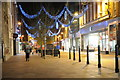 SO8554 : Christmas lights on Worcester High Street 1 by Philip Halling
