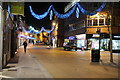 SO8554 : Christmas lights on Worcester High Street 3 by Philip Halling